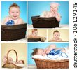 Collage of adorable baby boy - stock photo