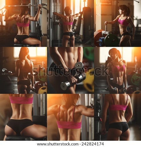 Collage of different photos of a young woman bodybuilder in the gym - stock photo