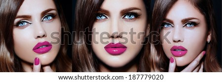 Collage of triple image of the same model High fashion look.glamor closeup portrait of beautiful sexy stylish Caucasian young woman with bright makeup, with pink lips,  with perfect clean skin - stock photo