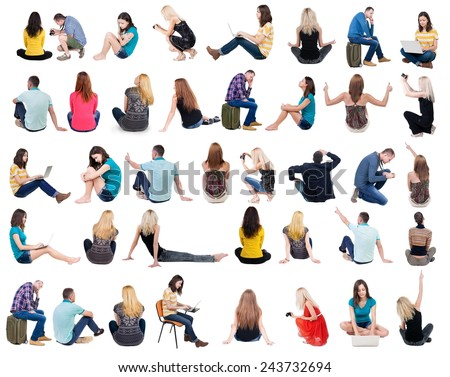 Collection back view of sitting people.  .  backside view of person.  Rear view people set. Isolated over white background.