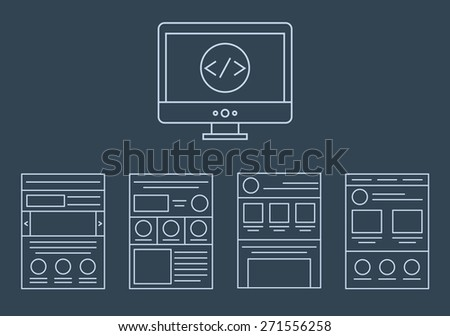 collection of web development icons - html css tags and page layout  isolated on white background isolated on dark background - stock photo