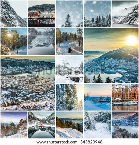 collection photos from Bergen, Norwegia - stock photo