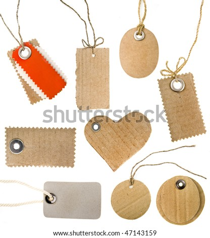collection set of various blank price tag card or address labels isolated on white background  - stock photo