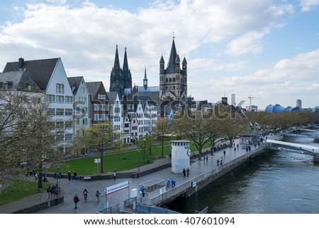 COLOGNE, GERMANY - APRIL 18: Cologne Cathedral, Unesco World Heritage Site, the church Gross St. Martin and the old city of Cologne.