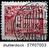 COLOMBIA - CIRCA 1930s: A stamp printed in Colombia shows Palace of Communications, circa 1930s - stock photo