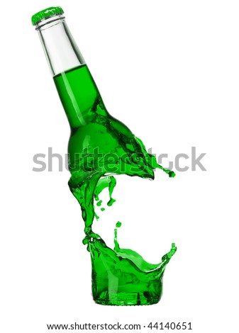 Color bottle isolated on a white - stock photo