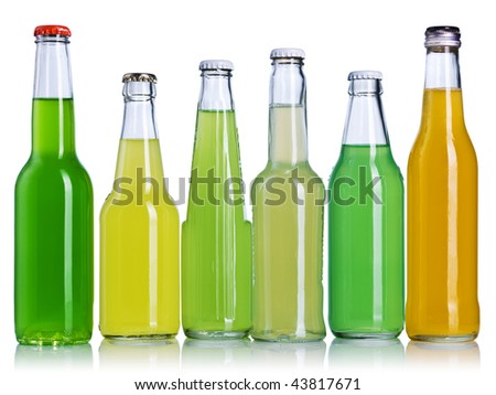 Color bottles isolated on a white