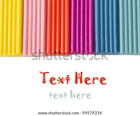Color children's plasticine  on a white background