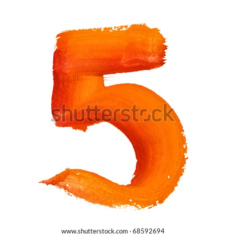 5 - Color digits isolated over the white background