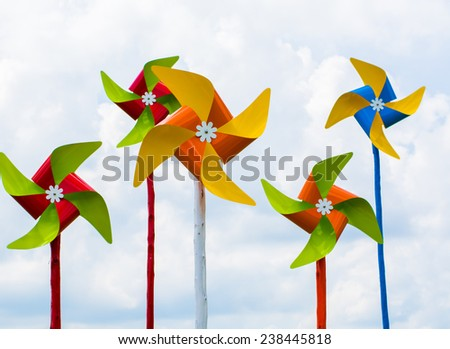 color full wind wheel - stock photo