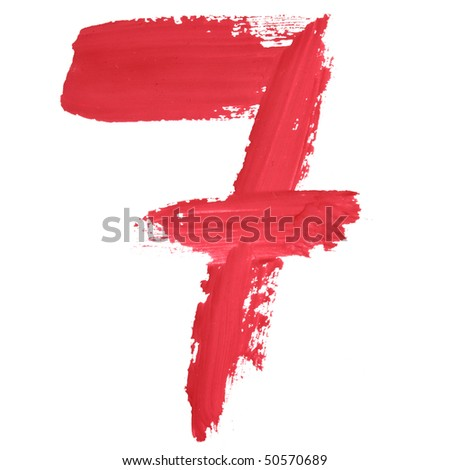 7 - Color numbers isolated over the white background