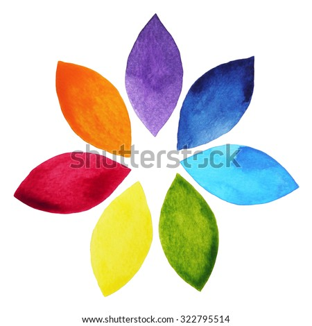 7 color of chakra sign symbol, colorful lotus flower icon, watercolor painting hand drawn, illustration design - stock photo