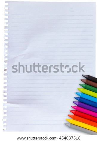 12 color pencils color black brawn green lightgreen blue lightblue violet pink red orange yellow gray on paper using crayons for children. lay on paper with white stripes. background on white - stock photo