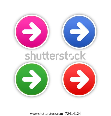 4 colored arrow symbol web 2.0 round stickers with shadow on white. Bitmap copy my vector ID: 61326946 - stock photo
