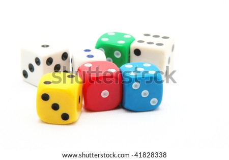 colored dice on white background