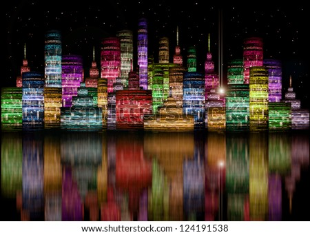 colored futuristic city night skyline - stock photo