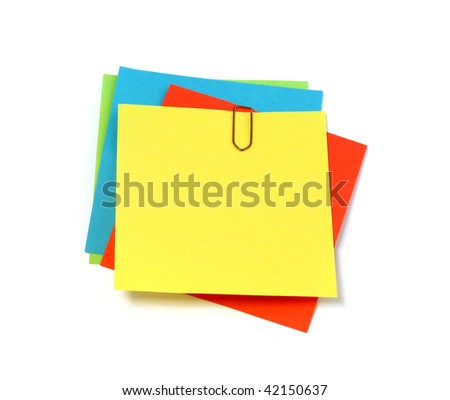 Colored notes paper isolated on white