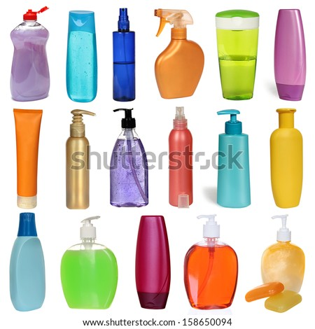 17 colored plastic bottles with liquid soap and shower gel isolated on white background . Studio shooting. Set. - stock photo