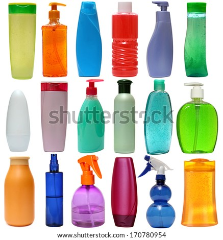 18 colored plastic bottles with liquid soap and shower gel isolated on white background . Studio shooting. Set.