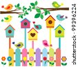 Colorful birds and birdhouses.Raster version - stock photo