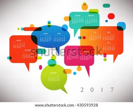 2017 Colorful Creative Calendar with Speech Balloons - stock photo