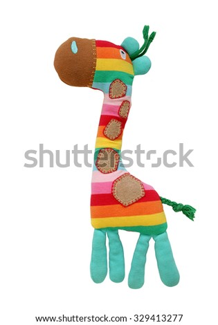 Colorful  Giraffe Toy isolated on white background