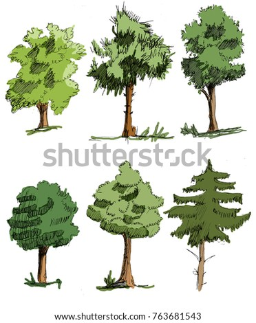 6 colorful hands draw trees on white background