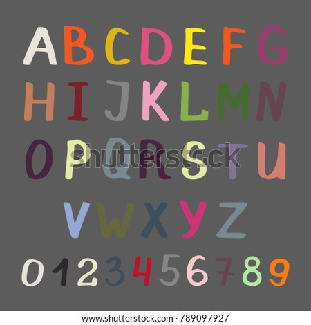colorful handwritten alphabet and numbers on grey background