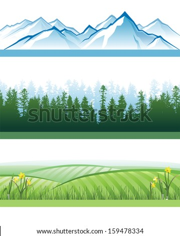 3 colorful landscape banners with mountains, forests and hills - stock photo