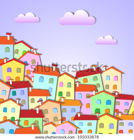 Colorful Little town .Raster version - stock photo