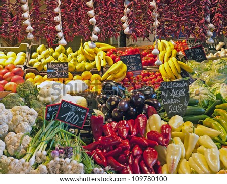 Colorful market stall with vegetables and fruit in Hungary