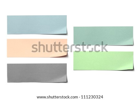 colorful paper label post on white background. - stock photo