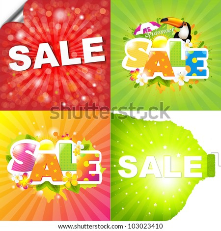 4 Colorful Sale Posters With Sunburst - stock photo