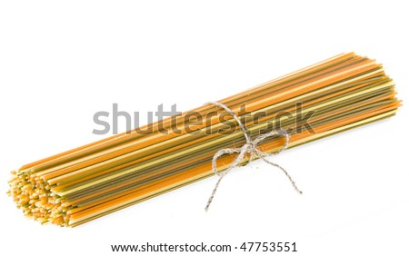 Colorful spaghetti pasta wrap rope  isolated on white background  - stock photo