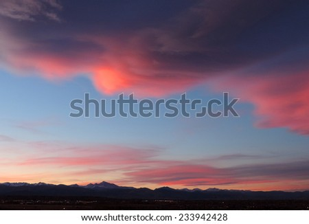 colorful sunset over the front range as seen from broomfield, colorado          - stock photo