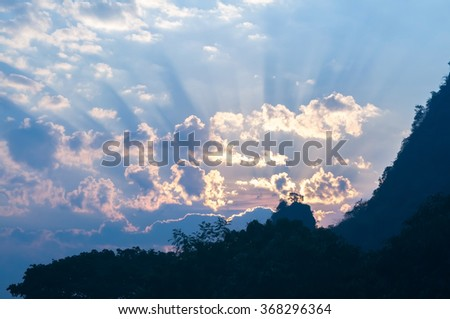 Colorful winter sunrise over the Smoky Mountains - stock photo