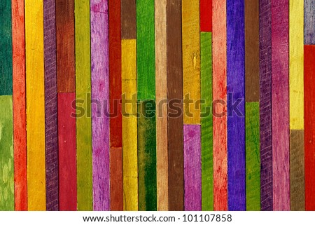 colorful wooden wall background - stock photo