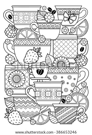 Coloring Book Adult Cups Herbal Tea Stock Illustration