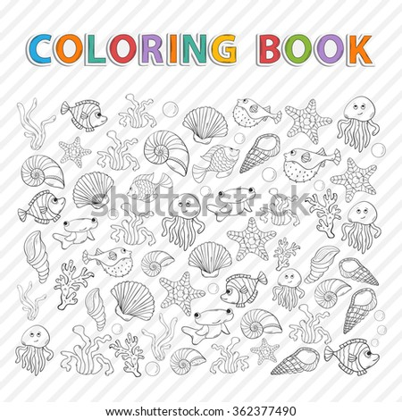 Vector Coloring Bookmarine Life Hand Drawn Stock Vector 248907841 ...
