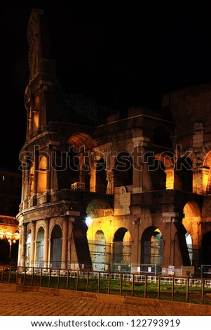 Colosseum detail at night, Rome, Italy