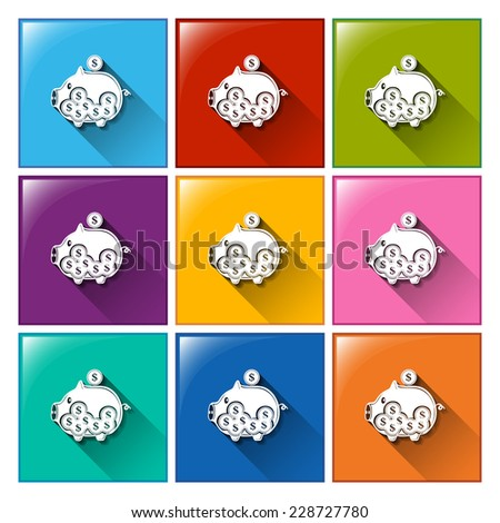 Colourful buttons with piggy banks on a white background - stock photo