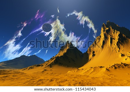 Colourful landscape on a background blue sky