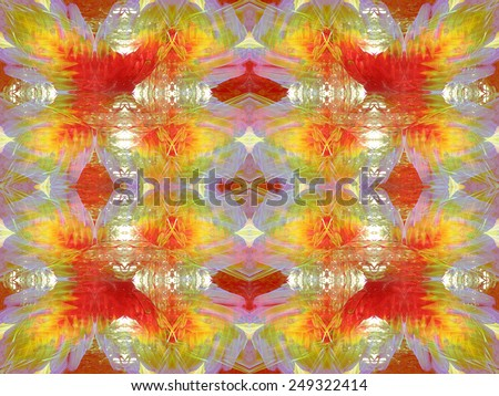 Colourful red and yellow Macaw Parrot feathers pattern - stock photo