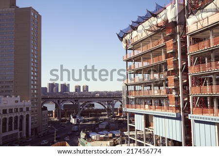 Columbia University Construction on 125th street - stock photo