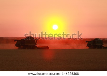 combine working in the field of wheat at ���§������²���¥ of the sun - stock photo