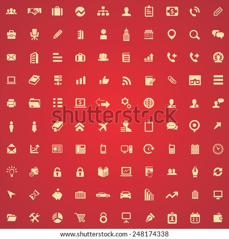 100 company icons, yellow on red background
