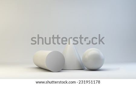 composition of 3d geometric primitives - stock photo