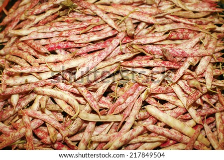 Composition of white beans on farmers market. Freshly organic colorful beans close up background - stock photo
