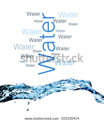 composition with beautiful blue splashing water on white background - stock photo