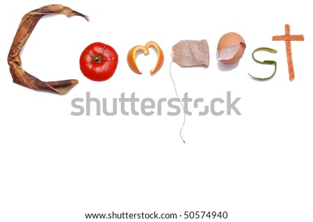 """Compost"" Message written in Kitchen Scraps - stock photo"